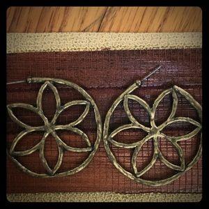 Vintage Gold Flower Hoop Earrings